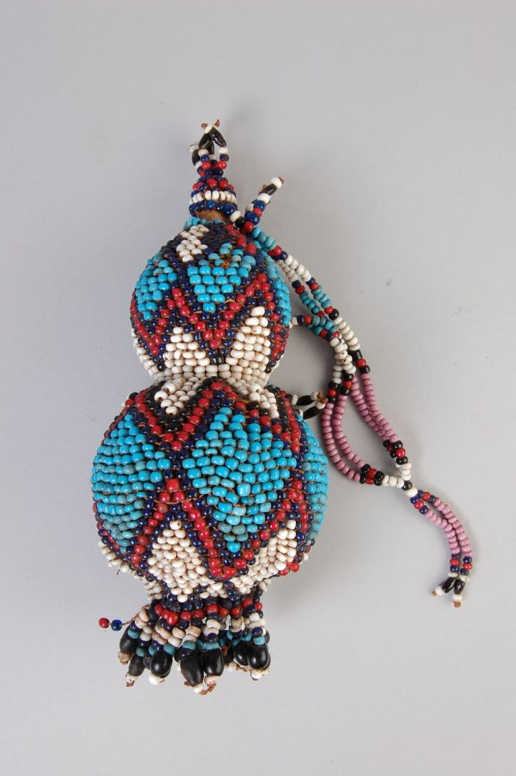 Beaded calabash gourd used as a snuff or potions container. Xhosa, South Africa, 1930's.