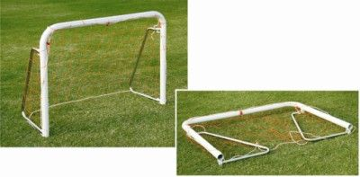 "Soccer Goal Post Steel Junior: Made of Steel, powder coated for durability and comes in 2 variants 1.5"" & 2"" steel tube. Foldable side arms and horizontal uprights for easy carriage, storage and transport. Includes net and anchors. Packed flat to reduce volume."