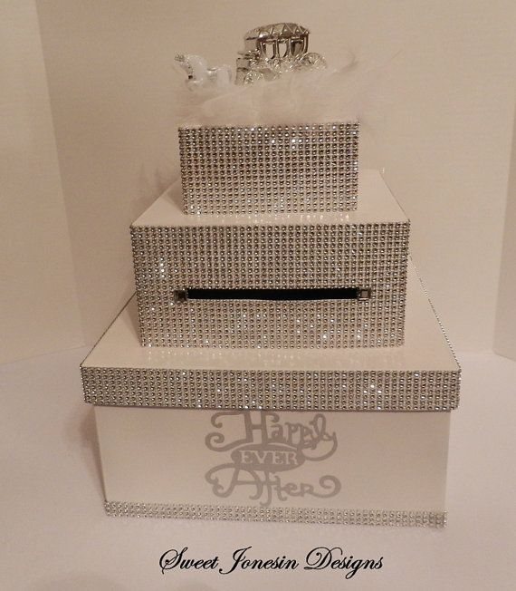 White Cinderella Bling Wedding Card Box Diamond Mesh Ribbon