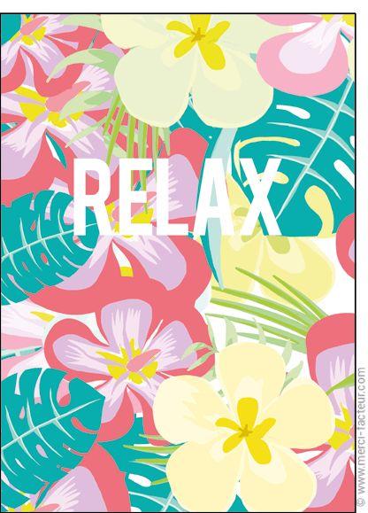 #carte #aout #vacances #piscine #plage #voyage #tourisme #relax #repos #soleil  Carte Relax des fleurs pour l'�t� pour envoyer par La Poste, sur Merci-Facteur !