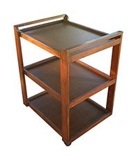 Solid wooden treatment trolley on wheels. 3 tiers. Available in dark mahogany , black satin, natural wood and white gloss.