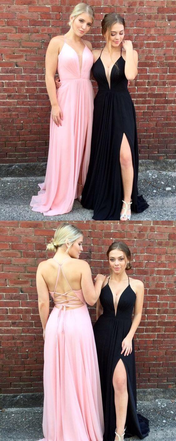 2018 Prom Dresses, Black Prom Dresses, Long Prom Dresses A-line, V-neck Prom Dresses Tulle, Split Front Prom Dresses Backless