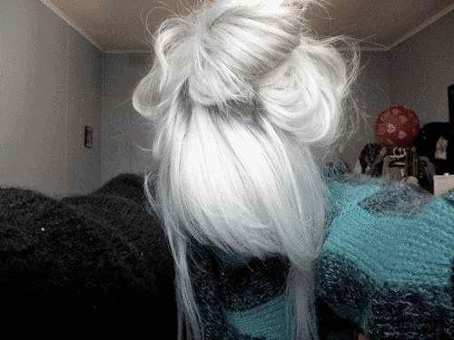 Cute hair color, bun, white.
