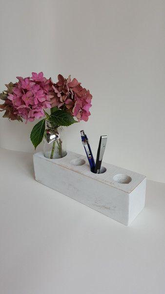 Stiftehalter Shabbychic Holz Weiß