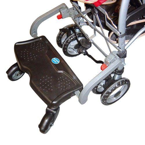 BB Board est une planche à roulettes pour poussette pour promener un second enfant, entre le siège de la poussette et l'adulte. elle s'adapte à la plupart des poussettes grâce à un système de fixation réglable en hauteur et en largeur. La planche se déclipe facilement de la poussette sans retirer les fixations.