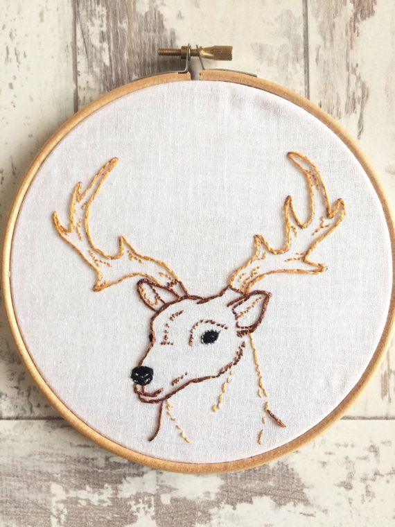 Woodland Stag Deer Embroidery by SoLongMySweetLime on Etsy