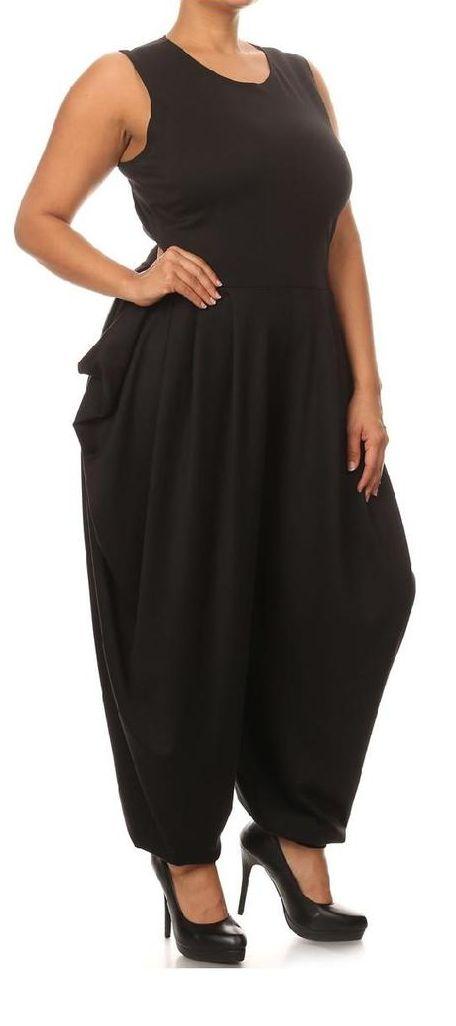 Plus Size Black Sleeveless Harem Jumpsuit