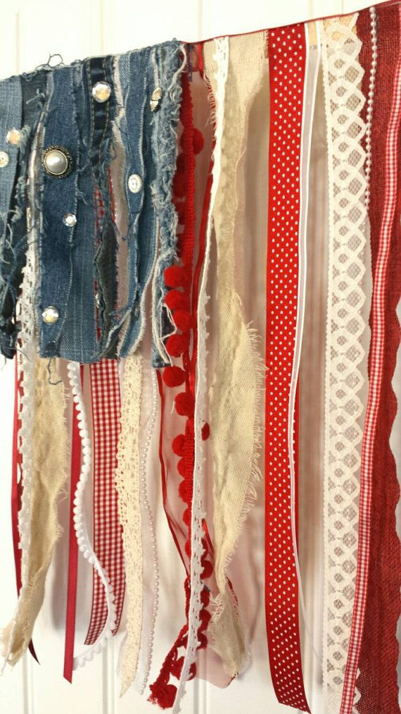 Rustic American rag flag ribbon and fabric by SarahBerryDesigns