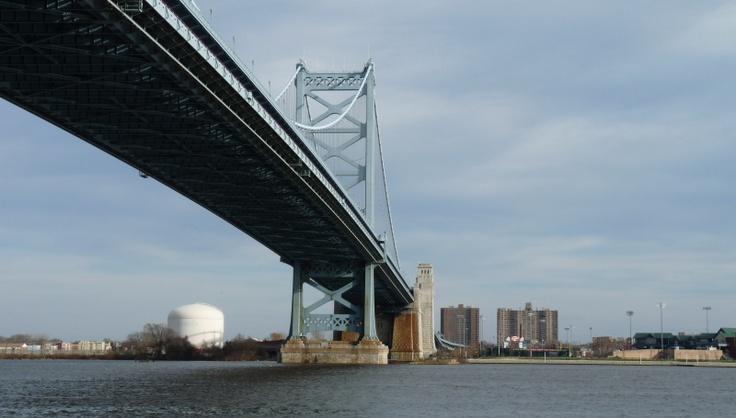 Ben Franklin Bridge crossing into South Jersey from Philadelphia, PA