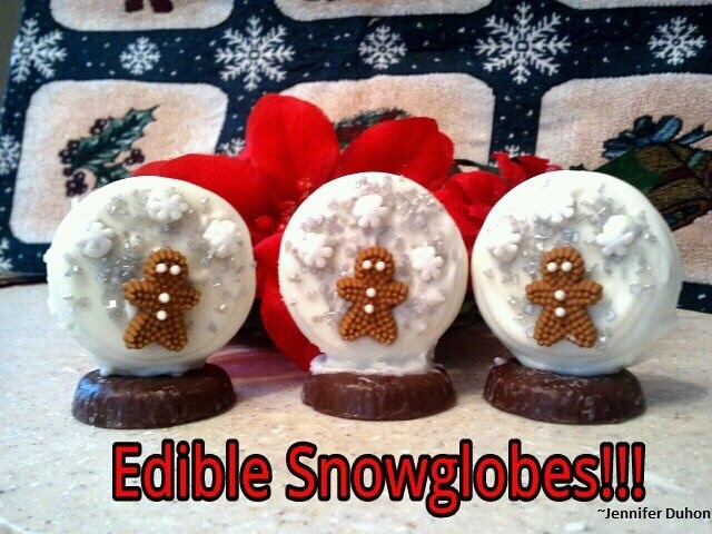 """My version of edible snowglobes! White fudge covered oreos, York Peppermint Patties, edible silver sprinkles, snowflakes & gingerbread men. Used white almond bark for """"glue""""! ~Jennifer Duhon"""