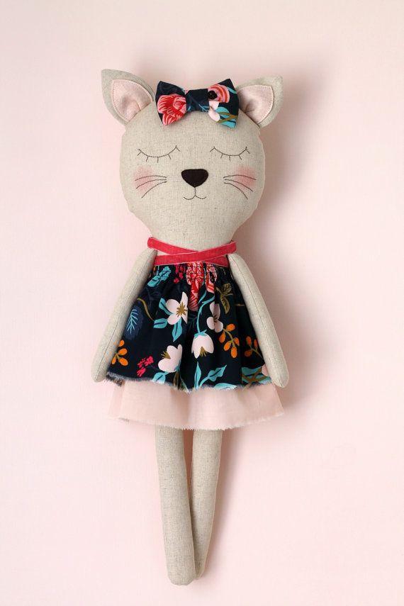 Handmade cat doll. Rag doll. Stuffed cat animal. Birthday gift for girls. Children bedroom decor. Nursery decor.Baby shower gift. Cat lover