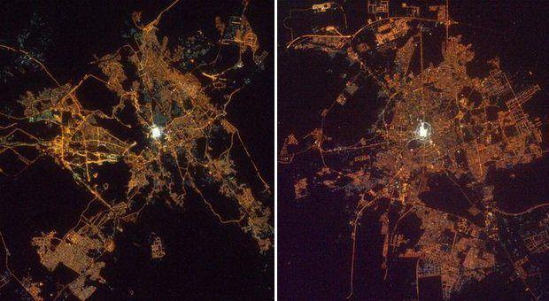 Gambar foto kota Mekah dan Madinah jika dilihat dari citra satelit luar angkasa yang penuh  dengan cahaya sinar putih terang benderang di malam hari.  #mekah #madinah #unik