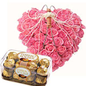 24 Pink roses heart shape arrangement + 16 pcs Ferrero Rocher