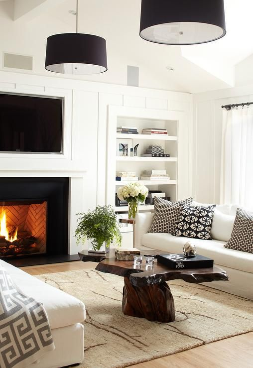 Urrutia Design - living rooms - Benjamin Moore - Super White - Tom Ford, Linen Sofa, Burl Table, Paneling, Craftsman Paneling, Ranch, TV Fireplace, Drum Pendant, Living Room, White Living Room, Family Room, Earth Tones, Neutral Colors, Neutrals, burl table, burl coffee table, flatscreen tv tv niche, fireplace tv, fireplace tv niche, fireplace tv nook,