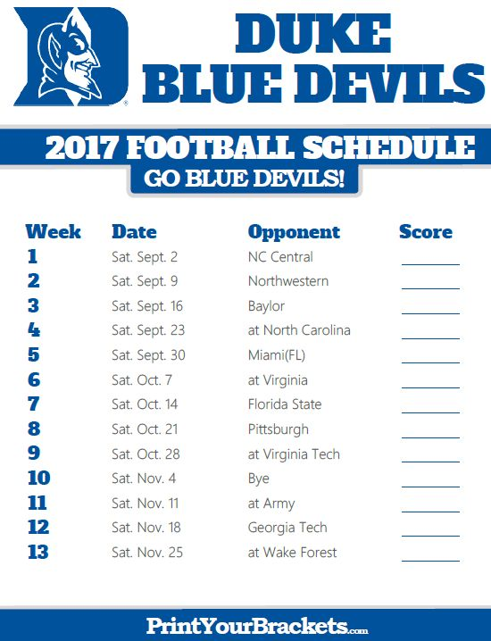 2017 Duke Blue Devils Football Schedule