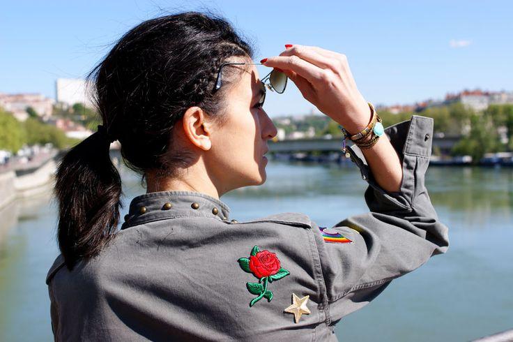 La veste militaire customisée - Blog Mode en France  écussons brodés thermocollants, bracelets gas bijoux made in france