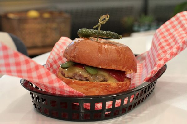 Beef bruger on Brasserie Bread brioche with pickles, cheese and Dijon mustard at 67 Union St Deli, McMahons Point