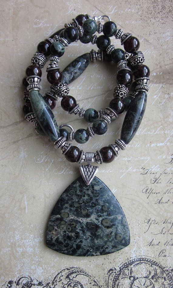 Kambaba Jasper and Garnet Necklace Sterling bali by JKDKdesigns, $80.40