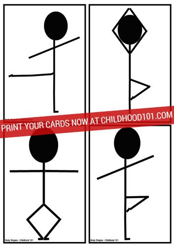 Have a laugh and lots of fun trying to twist your body into these crazy body shapes. 12 printable picture cards from childhood101.com