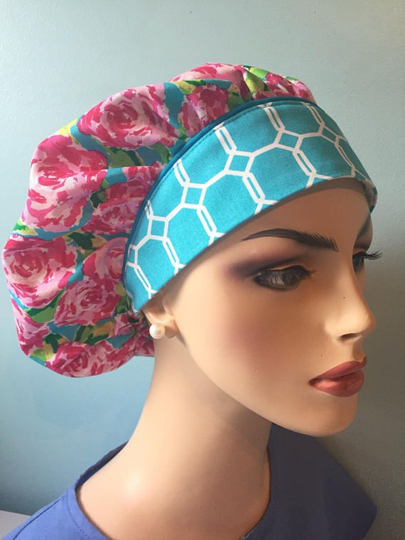 Lilly Pulitzer inspired    First Impression   Surgical Scrub hat   bouffant  hat  bouffant ponytail hat  European surgical hat   made to ord 7a4c41c175e