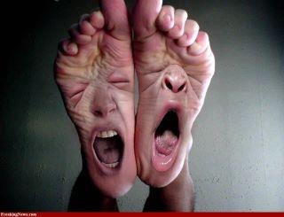 Sore feet!!!! Mine have felt like this so many times from rusty nails, bee stings, stubbed/broken toes, etc. Awww, the joys of bare feet :)