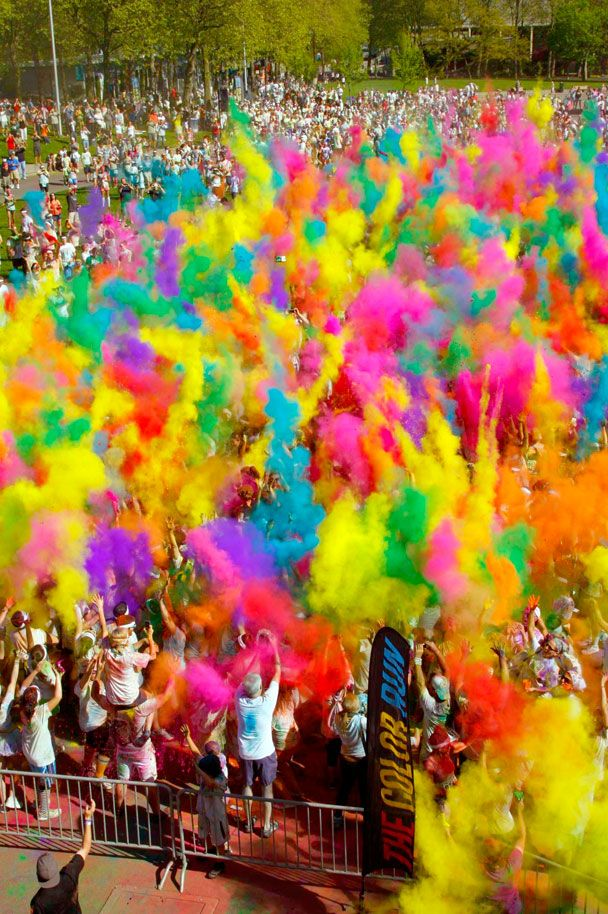 The picture of a color run represents the element color really well. There are multiple different colors in the picture. The color also helps the picture brighten up.