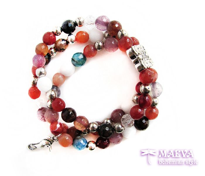 http://maevabohemian.com/Bracelet%20Modern%20Style?product_id=102&limit=100  #Bohemian #style #gemstone #bracelet, three layers of #semi-precious gemstones of motley #agate, #seahorse pendant and a #retro connector. On a #stretch cord.