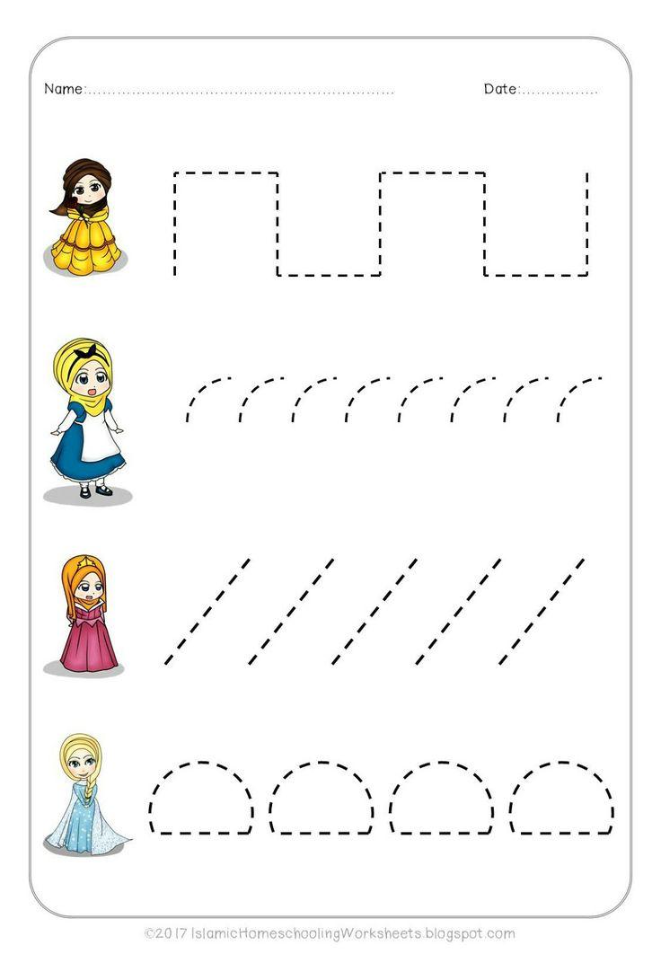 Free Worksheets dotted worksheets : FREE Prewriting Practice in Disney Princess Preschool Pack ...
