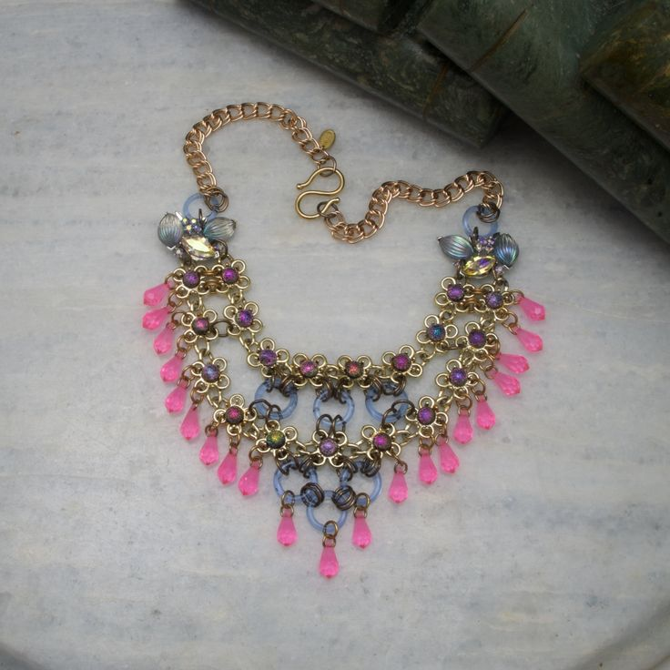 pink and blue bib necklace, one of a kind, reverie nyc statement necklace