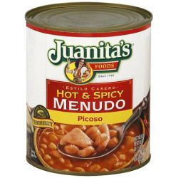 Juanita's Foods Estilo Casero Hot And Spicy Menudo: Authentic ingredientsPremium qualityInspected and passed by U.S. Department of Agriculture#Juanita's Foods Estilo Casero Hot And Spicy Menudo, 29.5 oz