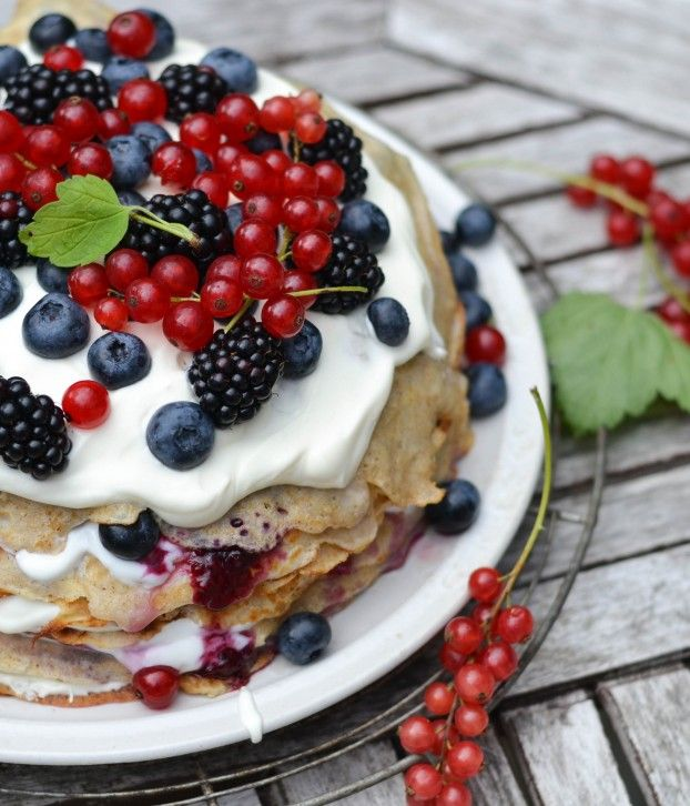 Nordic Pancake Cake with Forest Berries & Cream by atastylovestory #Pancake #Cake #Berries