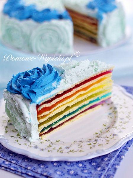 Tęczowy tort z galaretek
