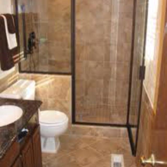 Half Wall With Dark Door Trim Bathroom Shower