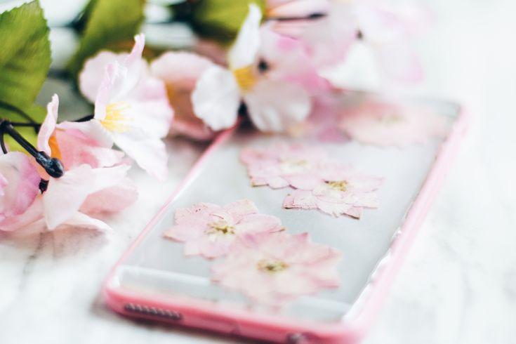 Sakura  Handmade Pressed Flower iPhone Bumper Cases for iPhone 6 Plus/iPhone 6s Plus Clear bumper case handmade with real pressed cherry blossoms
