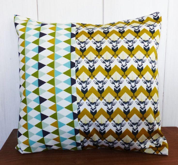 Housse de coussin 40 x 40 cm patchwork tissus g om triques cerfs vintage deco nordique vintage - Coussin nordique ...