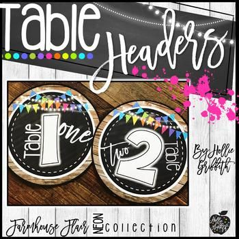 "FREE - Farmhouse Classroom Table Headers - My newest farmhouse decor is rich with charm! It is full of galvanized metal, shiplap, wood grains, chalkboards, string lights, lanterns, and a little NEON to liven it up! It is sure to give you the PERFECT ""home away from home"""