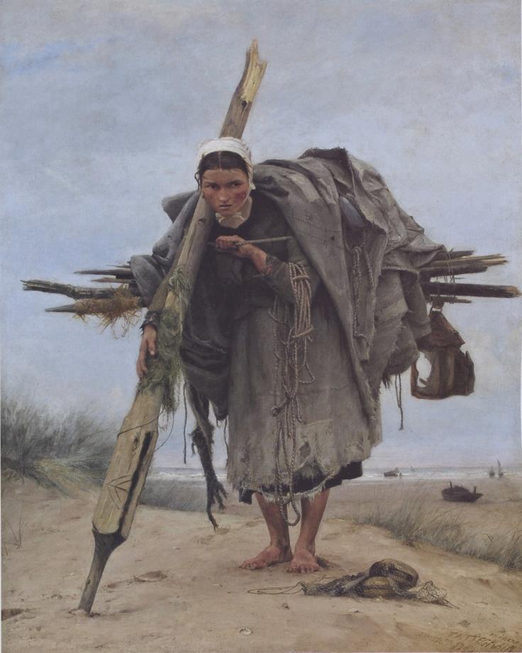 Francis Tattegrain - La ramasseuse d'épaves / The beachcomber, 1880    Château-Musée de Boulogne-sur-Mer, France
