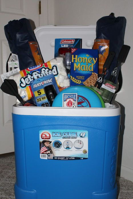 Camping Basket    This basket is great for a guy who likes to camp. It has everything you need to have a fun time while camping!