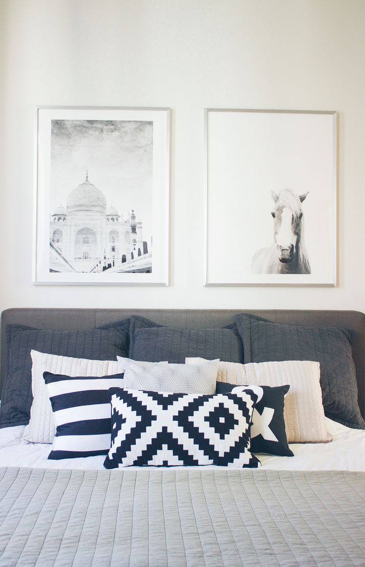 minted bedroom art, bedroom art, black and white bed pillows