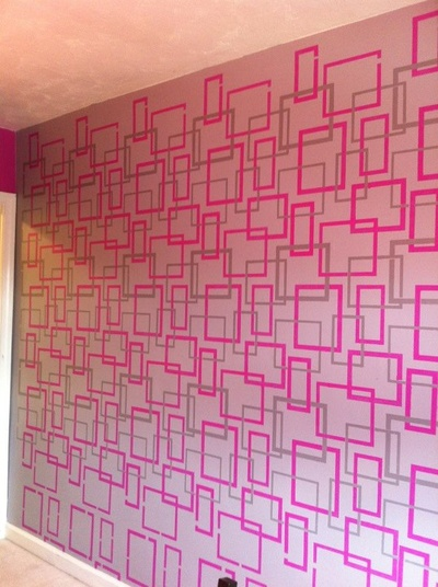 Royal Design Studio's Hip to be Square stencil on Accent Wall by Bridget Riley