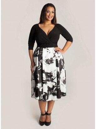 Corrine Plus Size Dress in Film Noir