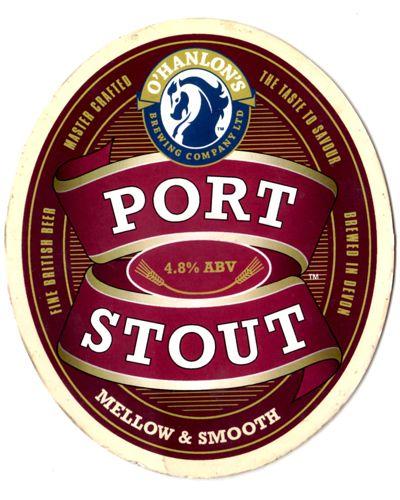 Cerveja O'Hanlon's Original Port Stout, estilo American Stout, produzida por O'Hanlon's Brewing, Inglaterra. 4.8% ABV de álcool.