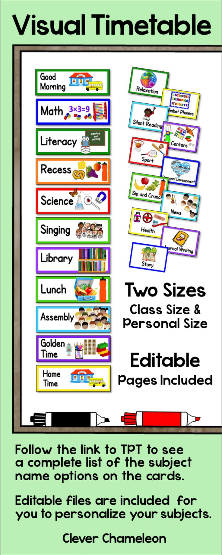 Visual Timetable in Class Size and Individual Size. Editable files included. Available at Clever Chameleon TPT