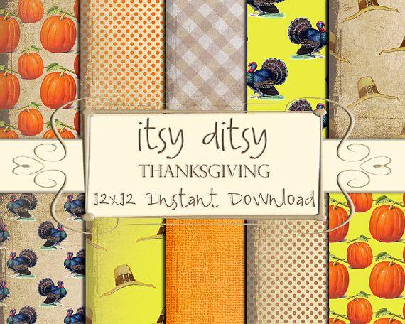 25 Best Digital Paper Thanksgiving Images On Pinterest Digital