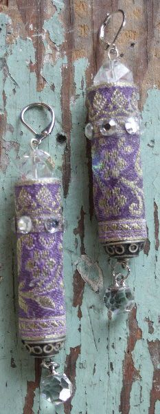 Fabric earrings with silver tone findings                              …