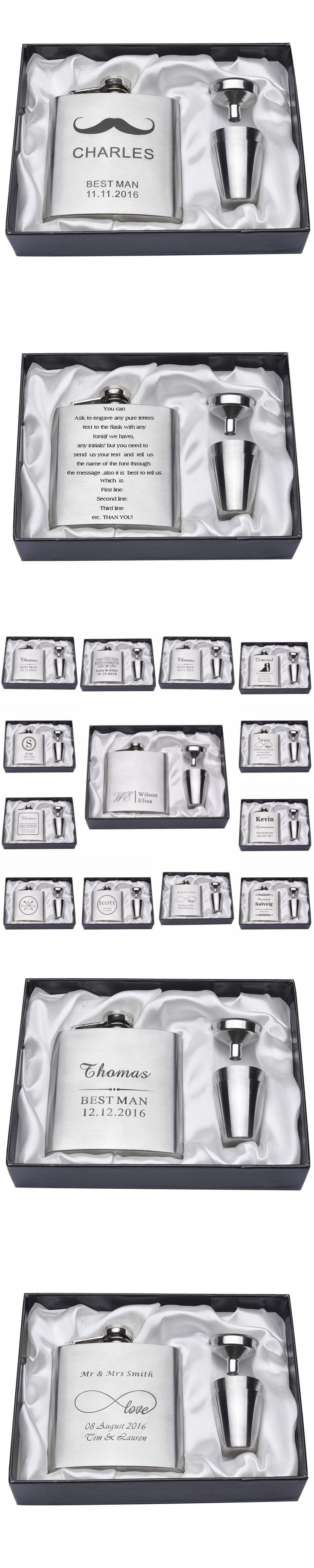 1 Set Personalized Engraved 6oz Silver Black Hip Flask Stainless Steel Wedding Birthday Valentine's Day Gift Favors FL02
