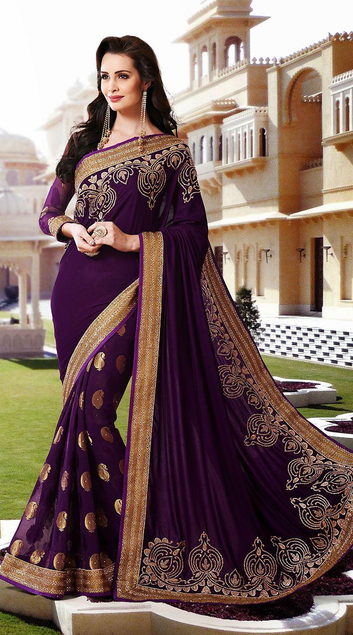 Purple Velvet And Faux Georgette Gold Zari Work Wedding Wear Saree WV858658