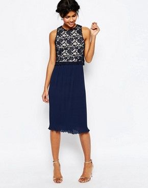 ASOS Lace Top Pleated Midi Dress