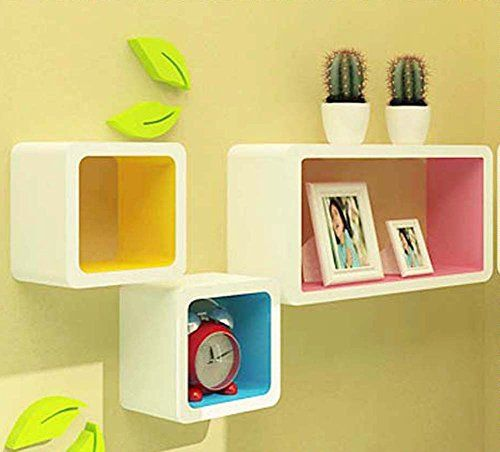 Zjchao Squares Wall Shelves Rounded Corner Decorative