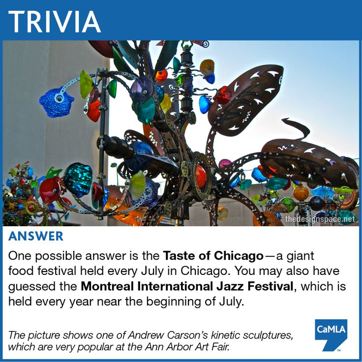 The trivia question was: The Ann Arbor Art Fair is always held in July. Can you think of any other festivals held each July?